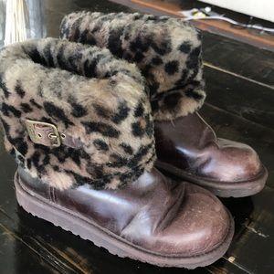 Leopard Cuff Leather Uggs